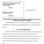 WMSCOG Memorandum in Support of Motion for Protective Order – WMSCOG vs Colon, Newton VA #2011-17163